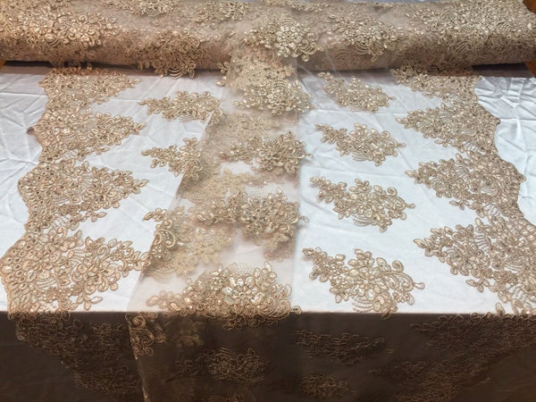 Champagne Lace Fabric - Corded Flowers Embroidery With Sequins For Wedding Dress Bridal Veil By The Yard