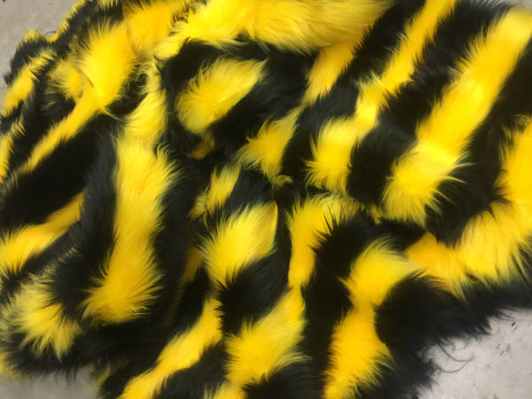Faux Fake Fur 2 Two Tone Stripe LONG PILE FABRIC - Black/Yellow - By The Yard