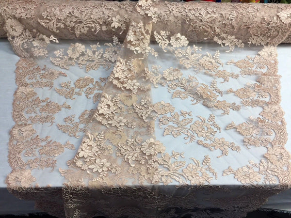Embroidered Lace fabric - Peach Flower/Floral Corded Mesh Bridal Wedding Dress By The Yard