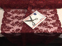 Embroidered Lace fabric - Burgundy Flower/Floral Corded Mesh Bridal Wedding Dress By The Yard
