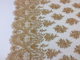 Gold Embroidered Beaded Fabric - Lace Heavy Beads For Bridal Veil Flower-Floral Mesh Dress Top Wedding Decoration By The Yard