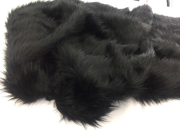 Supreme Luxurious Faux Fur Fabric Mongolian Design Black Sold By Yard