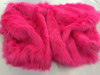 Supreme Luxurious Faux Fur Fabric Mongolian Design Fuschia Sold By Yard