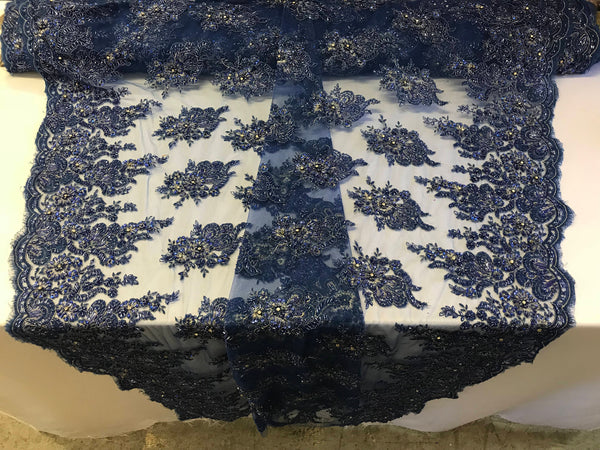 Royal Blue Bridal Beaded - Hand Embroidered With Basins And Diamonds For Veil Mesh Dress Top Wedding Decoration By The Yard