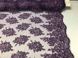 Purple Bridal Beaded - Hand Embroidered With Basins And Diamonds For Veil Mesh Dress Top Wedding Decoration By The Yard