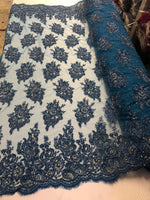 Midnight Blue Bridal Beaded - Hand Embroidered With Basins And Diamonds For Veil Mesh Dress Top Wedding Decoration By The Yard