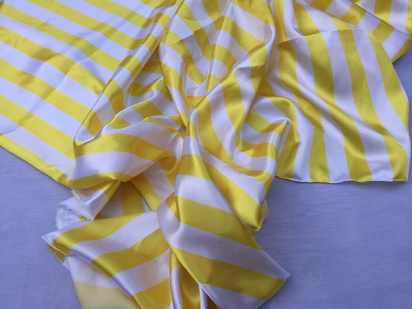 White/yellow 1inch Stripe Soft/silky Charmeuse Satin Fabric. (20 Yards)