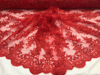 Lace Fabric By The Yard - Red Corded Flower Embroidery With Sequins on Mesh Polyester For Bridal Veil Wedding Decoration