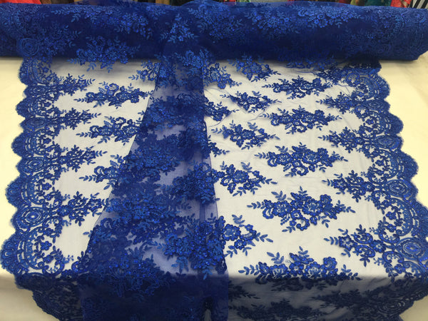 Lace Fabric By The Yard - Royal Blue Corded Flower Embroidery With Sequins on Mesh Polyester For Bridal Veil Wedding Decoration
