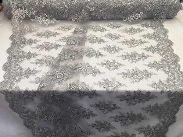 Lace Fabric By The Yard - Silver Corded Flower Embroidery With Sequins on Mesh Polyester For Bridal Veil Wedding Decoration