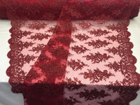 Lace Fabric By The Yard - Burgundy Corded Flower Embroidery With Sequins on Mesh Polyester For Bridal Veil Wedding Decoration