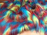 "Faux Fake Fur 3 tone Rainbow Long Pile Fabric 60"" width. Sold by yard"