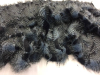 Faux Fake Fur Feathered Bird Long Pile Fabric Navy Coat Sold by yard.