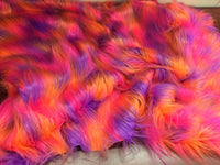 Faux Fake Fur 3 tone Rainbow Long Pile Fabric Sold by yard Coral