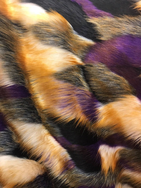 Majestic Design Faux Fur Fabric Multi Color Purple Top Luxury. Sold By Yard