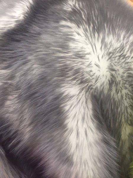 Animal Design Gray Ivory Faux Fur Fabric. Sold By The Yard