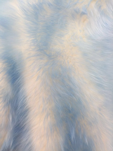 Animal Design Baby Blue Ivory Faux Fur Fabric. Sold By The Yard