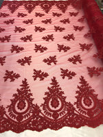 Lace fabric By The Yard - Burgundy Embroidred Corded Mesh Flower-Floral Bridal Veil Wedding Dress