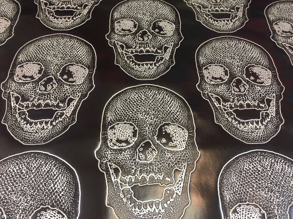 Luxurious Skull Design Heavy Duty Upholstery Fabric Black White. Sold By Yard - Supreme Acoustics