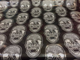 Luxurious Skull Design Heavy Duty Upholstery Fabric Black White. Sold By Yard