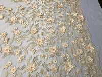 Bridal Lace Fabric - Hand Embroidered Flower 3D Pearls Champagne For Veil Mesh Dress Top Wedding Decoration By The Yard