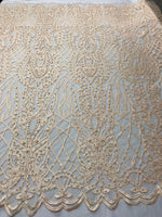 Beaded Fabric - Lt Peach Embroidered Lace Beads By The Yard For Bridal Veil Mesh Dress Top Wedding Decoration