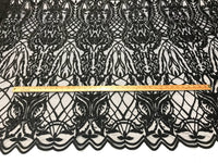 Beaded Fabric - Black Embroidered Lace Beads By The Yard For Bridal Veil Mesh Dress Top Wedding Decoration