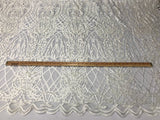 Beaded Fabric - Ivory Embroidered Lace Beads By The Yard For Bridal Veil Mesh Dress Top Wedding Decoration