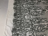 Silver 4 Way Stretch Fabric - Sequins Fabric Embroidered Power Mesh Dress Top Fashion Prom Wedding Lace Decoration By The Yard
