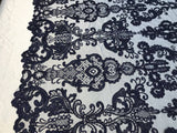 Lace Fabric - Embroidered Sequin Mesh Navy Bridal Wedding Dress By The yard