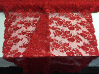 Embroidered Lace fabric - Red Flower/Floral Corded Mesh Bridal Wedding Dress By The Yard