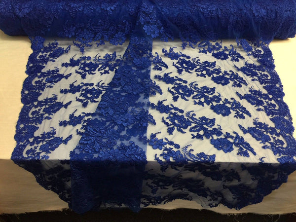 Embroidered Lace fabric - Royal Blue Flower/Floral Corded Mesh Bridal Wedding Dress By The Yard