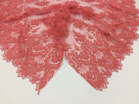 Coral Embroidered Beaded Fabric - Lace Heavy Beads For Bridal Veil Flower-Floral Mesh Dress Top Wedding Decoration By The Yard