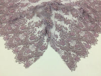 Lilac Embroidered Beaded Fabric - Lace Heavy Beads For Bridal Veil Flower-Floral Mesh Dress Top Wedding Decoration By The Yard