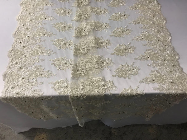 Ivory Bridal Beaded - Hand Embroidered With Basins And Diamonds For Veil Mesh Dress Top Wedding Decoration By The Yard