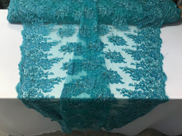 Aqua Bridal Beaded - Hand Embroidered With Basins And Diamonds For Veil Mesh Dress Top Wedding Decoration By The Yard