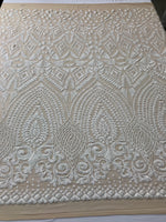 Sequins Fabric - White 4 Way Stretch Embroider Nude Power Mesh Dress Top Fashion Prom Wedding Decoration By The Yard
