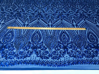 Sequins Fabric - Royal Blue 4 Way Stretch Embroider Power Mesh Dress Top Fashion Prom Wedding Decoration By The Yard - Supreme Acoustics