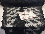 Lace Fabric By The Yard - BLack Corded Flower Embroidery With Sequins on Mesh Polyester For Bridal Veil Wedding Decoration