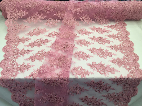 Lace Fabric By The Yard - Pink Corded Flower Embroidery With Sequins on Mesh Polyester For Bridal Veil Wedding Decoration