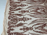 4 Way Stretch Fabric Sequins By The Yard - Rose Gold Embroidered Mesh Dress Top Fashion For Bridal Veil Wedding Lace Decoration