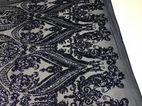 4 Way Stretch Fabric Sequins By The Yard - Navy Mate Embroidered Mesh Dress Top Fashion For Bridal Veil Wedding Lace Decoration