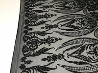 4 Way Stretch Fabric Sequins By The Yard - Black Embroidered Mesh Dress Top Fashion For Bridal Veil Wedding Lace Decoration