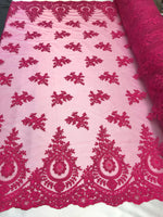 Lace fabric By The Yard - Fuchsia Embroidred Corded Mesh Flower-Floral Bridal Veil Wedding Dress