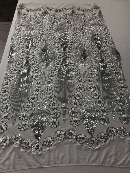 Supreme Sequins Fabric - Silver 4 Way Stretch Embroider Pearls Flower Power Mesh Dress Top Fashion Prom Wedding Decoration By The Yard