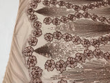 Supreme Sequins Fabric - Champagne 4 Way Stretch Embroider Pearls Flower Power Mesh Dress Top Fashion Prom Wedding Decoration By The Yard
