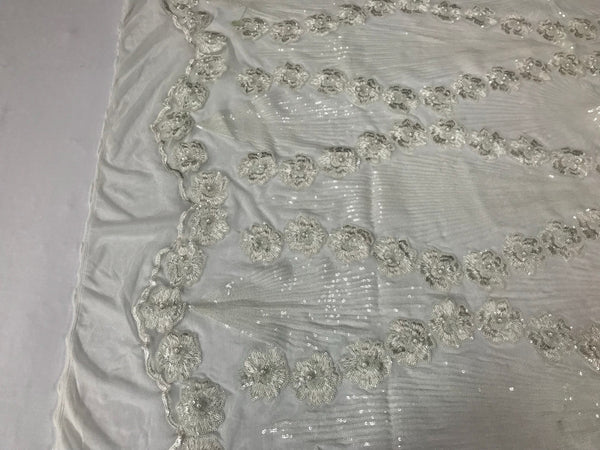 7ed4f3a4fff ... Supreme Sequins Fabric - ivory 4 Way Stretch Embroider Pearls Flower  Power Mesh Dress Top Fashion ...