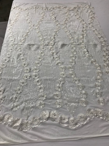 6a47680ae37 Supreme Sequins Fabric - ivory 4 Way Stretch Embroider Pearls Flower Power  Mesh Dress Top Fashion