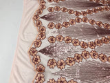 Supreme Sequins Fabric - Blush 4 Way Stretch Embroider Pearls Flower Power Mesh Dress Top Fashion Prom Wedding Decoration By The Yard