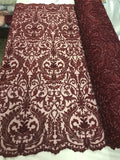 Beaded Fabric - By The Yard Burgundy Lace Heavy Beads For Bridal Veil Flower Mesh Dress Top Wedding Decoration